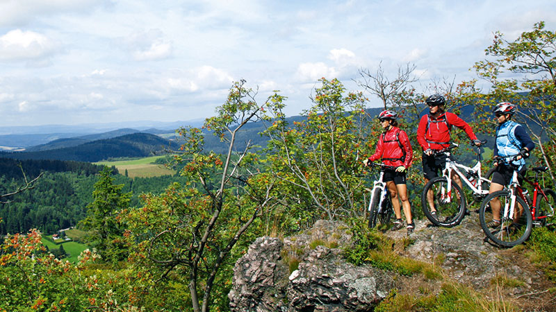 Gruppe Mountainbiker im Thüringer Wald | © Tourist Information Oberhof